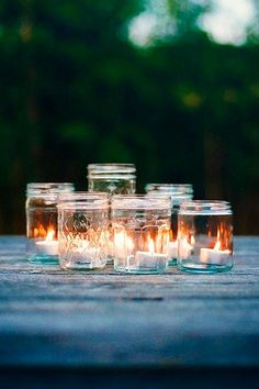 Evening Glow Inspiration- simple! tea lights in a collection of different glass jars