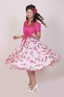 Retro, Pinup Dress, Pinup, Vintage, Rockabilly, Classic Vintage Skirt, Vintage Inspired Dresses, Tops, Accessories   It is pink! It has poodles! It has Paris! It has pockets! It is the lovely Bettie Page Poodles in Paris high waist full circle skirt! Includes a hidden hip side zipper with button closure on the top.