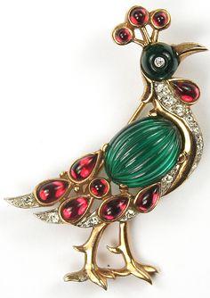 Trifari 'Alfred Philippe' Moghul Jewels Emerald Molded Glass Peacock Pin