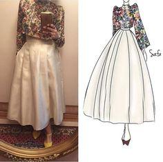 My Style Outsized floral crop top with flared pleated skirt in ivory Abaya Fashion, Muslim Fashion, Skirt Fashion, Fashion Dresses, Hijab Dress Party, Modele Hijab, Hijab Fashion Inspiration, Elegant Dresses, Ivory Dresses