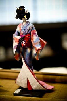 Japanese doll made from washi paper  for 1500 free paper dolls, go to my website Arielle Gabriel's The International Paper Doll Society...