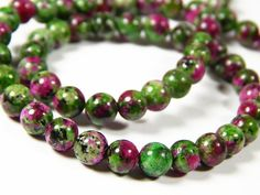 15 Inch Strand  6mm Round Ruby Zoisite by MurphysBeadsAndMore