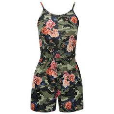 Floral camo playsuit ❤ liked on Polyvore featuring jumpsuits, rompers, shorts, playsuit romper, camouflage romper, floral print romper, flower print romper and spaghetti strap romper