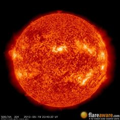 The hourly sun (at 11:45 pm UTC on 19 May 2013)