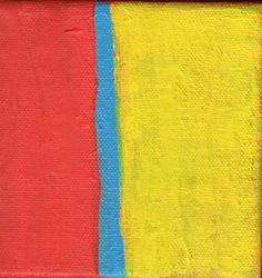 Contemporary Abstract Painting 4 x 4 Artist with Autism Red Yellow Blue Wall Decor Art