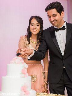 Indian newlyweds cutting the wedding cake Wedding Cake Photos, Wedding Cakes, Wedding Venues, Wedding Cake Cutting, Sister Wedding, Newlyweds, Perfect Wedding, Baby Shower, Indian