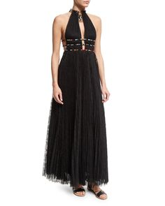 Valentino Halter-Neck Lace Gown W/Elephant Necklace, Black