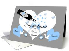 Wedding Shower Custom Name Champagne, Hearts, Bubbles, Doves card