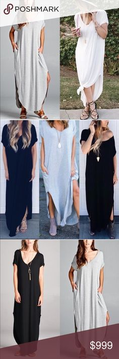 "RESTOCK Grey V-Neck Oversized Side Slit Maxi Dress AVAILABLE in BLACK, WHITE & HEATHER GREY~~You will literally hang out in this dress all day!! That's how comfy this is! Stretchy oversized jersey soft material (rayon). Has 2 side slits, perfect to make a tie if too long for you! It's approx 54"" in length, and looks cute as an ankle length dress as well. It also has side pockets!! PLEASE NOTE: this runs BIG!! I highly suggest to size DOWN. Size Large will fit up to an XL AND XXL. No Trades…"
