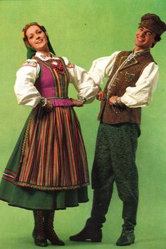 Folk costume from Kielce, Poland, vintage postcard.