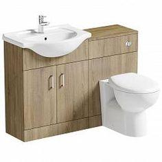 Sienna oak combination unit and Arte back to wall toilet Combination Vanity Units, Toilet And Sink Unit, Bathroom Layout, Bathroom Ideas, Bathroom Small, Family Bathroom, Bathroom Designs, Bathroom Inspiration, Contemporary Toilets