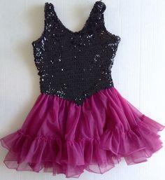 Sequin Ruffled Dance Figure Skating Dress Costume Leotard Womens Teen Size M #Unbranded #DanceDressCostume