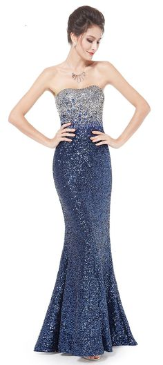 Fit and Flare Sequins Long Party Dress