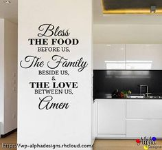 Wall Decal  Bless the food before us