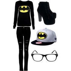 """""""Batman Outfit"""" by cayla-monzon ❤ Ithe shoes and hat Batman Outfits, Emo Outfits, Casual Outfits, Cute Outfits, Rock Outfits, Party Outfits, Party Dresses, Cute Fashion, Teen Fashion"""