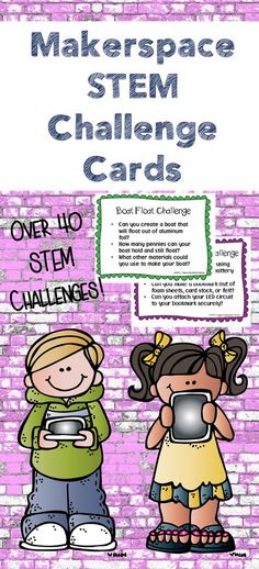 These Makerspace STEM Challenge Cards have a variety of STEM challenges with guided questions to inspire your Makers! Over 40 challenges and editable challenge cards included! Stem Science, Science Experiments Kids, Science Centers, Elementary Science, Teaching Science, Elementary Teacher, Teaching Tips, Steam Learning, Stem Steam