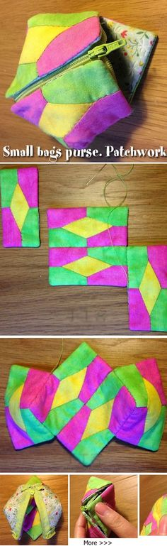 Small bags purse. Patchwork DIY tutorial. http://www.handmadiya.com/2015/07/earbud-headphones-purse-patchwork-diy.html
