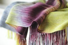 Gorgeous woven scarf in Valley Yarns 8/2 Tencel and Blue Moon Fiber Arts Socks that Rock Lightweight >> Ravelry: kasyafka's Plums on the Sun