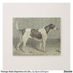 Vintage Style Depiction of a Dog Jigsaw Puzzle Vintage Style, Vintage Fashion, Make Your Own Puzzle, Custom Gift Boxes, Animal Skulls, High Quality Images, Vintage Shops, Jigsaw Puzzles, Moose Art
