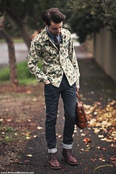 Camo Blazer, Dark Jeans, Burgundy Leather Shoes and Briefcase. Men's Fall Winter Street Style Fashion.