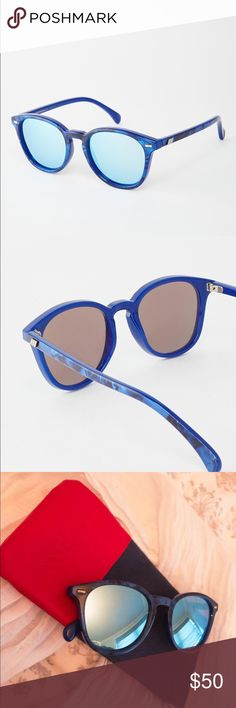 NEW - Le Specs Bandwagon Sunglasses NEW - Rare Color of Amazing Le Specs Bandwagon Sunglasses, Blue Mirrored Lenses and Blue Marbled Plastic Frame, 50mm, Case Included Le Specs Accessories Sunglasses