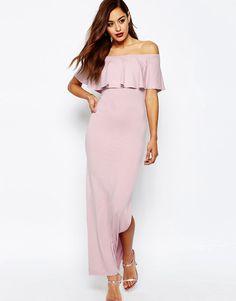 Image 1 ofASOS Ruffle Off Shoulder Bardot Maxi Dress