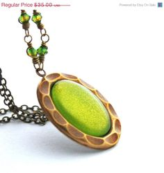 SALE Lime Green Necklace Shimmer Glass Cabochon by JewelryByMagda, $28.00