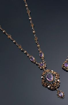 An antique vermeil, enamel, amethyst and pearl necklace, about 1880.