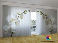 Fotogardinen Vorhänge in Luxus Fotodruck 3D.  Orchidee  2-tlg. Maßanfertigung.