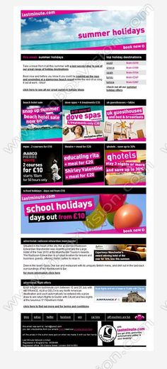 Company:   Lastminute.com   Subject:   summer holidays + great spa and restaurant offers             INBOXVISION is a global database and email gallery of 1.5 million B2C and B2B promotional emails and newsletter templates, providing email design ideas and email marketing intelligence http://www.inboxvision.com/blog
