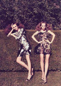 Harper's Bazaar - Prints: February 2010 | Editorial Credits: Camilla Akrans - Photographer; Brana Wolf - Fashion Editor/Stylist; Miki - Hair Stylist; Wendy Rowe - Makeup Artist; Amanda Norgaard - Model; Regina Feoktistova - Model