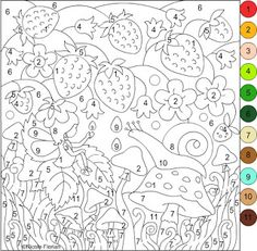 Nicole's Free Coloring Pages: COLOR BY NUMBER * SNAIL&STRAWBERRIES