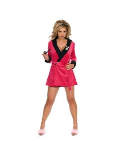 Playboy Pink Sexy Girlfriend Ladies Smoking Jacket Adult Costume 09da40868e7b