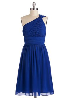 Moonlight Marvel Dress - Blue, Solid, Wedding, A-line, One Shoulder, Ruching, Long, Luxe, Cocktail, Formal, Prom, Bridesmaid