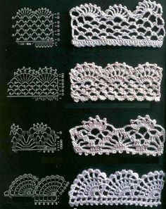 Lovely lace crochet edgings.  Includes one you can work inch by inch; in other words it works vertically more than horizontally.  great when you are not sure how much you will need for your project.  Great to crochet and save. ..★ Teresa Restegui http://www.pinterest.com/teretegui/ ★.. #CrochetEdging