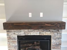 SOLID wood floating fireplace mantel rustic by ChiTownFurniture
