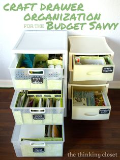 Craft Drawer Organization for the Budget Savvy ~ Lauren of The Thinking Closet… Craft Drawer Organization, Craft Storage Drawers, Scrapbook Organization, Craft Room Storage, Organization Ideas, Craft Rooms, Organizing Tips, Organising, Storage Ideas