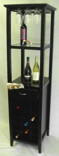 """Galina Wine Tower - Holds 18 Bottles (Matte Black) (66""""H x 17""""W x 17""""D) by Proman. $235.00. Holds 18 bottles of wine. Storage drawer. 9 piece stemware rack. Color: Matte Black. Size: 66""""H x 17""""W x 17""""D. Impress your guests with a well stocked wine bar! This wine tower holds 18 bottles of your favorite wines and 9 wine glasses on a built-in stemware rack. With a drawer for towels, corkscrews and other accessories, and two shelves for additional bar items and mixers, this wine r..."""