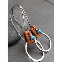 Sky Blue Turquoise & Organic Hoop Earrings