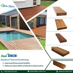 by Au-Mex has no chemical used in the heat treatment and is resistant & stable in size. For various wooden decking. Wooden Terrace, Wooden Decks, Wooden Facade, Decking, Stables, Cladding, Exotic, Flooring, Outdoor Decor