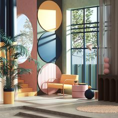 This extravagant post modern design shows through the placement of colored circle designs on the walls. Interior Design Minimalist, Modern Interior Design, Interior Design Inspiration, Interior Architecture, Furniture Inspiration, Room Interior, Interior And Exterior, Design Scandinavian, Design Commercial