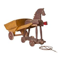 Vintage Child's Wooden Toy Horse and Cart