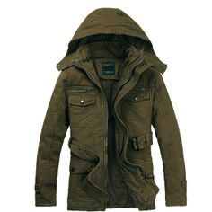 Men's Thick Warm Hooded Coats Large Pocket Jacket via martEnvy. Click on the image to see more!