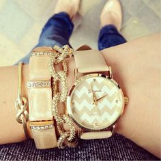 gold wrist jewellery- love the chevron pattern on the watch and the naked color adds to it !