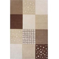 beige and brown squares rug
