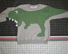 Kids T REX DINOSAUR applique sweatshirt with open mouth