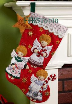 Bucilla Candy Angels ~ 18 Felt Christmas Stocking Kit - New for 2011 Felt Stocking Kit, Christmas Stocking Kits, Felt Christmas Stockings, Cute Stockings, Christmas Candy, Christmas Time, Christmas Projects, Christmas Stuff, White Wings