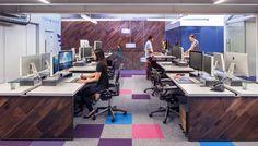 @MASHstudios | wood open office, height adjustable benching |  Capacity TV Workstations