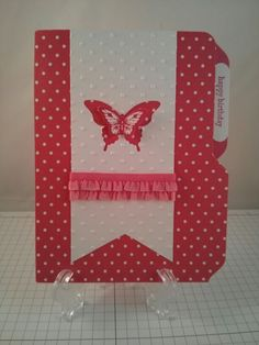 Stampin Up file folder birthday card using the envelope punch board, Papillon Potpourri stamp set, butterfly punches, and Strawberry Slush ink/paper/ribbon.