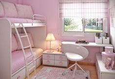 habitacion juvenil muebles preciosa dos chicas rosa ideas